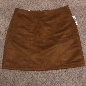 Old Navy Brown Faux Suede Mini Skirt